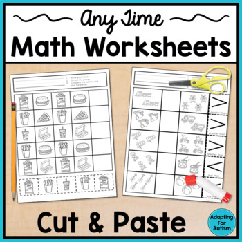 Any Time Cut and Paste Math Worksheets for Special Education and ...