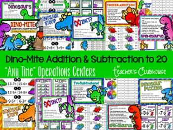 Any Time Series: Dino-Mite Addition & Subtraction to 20 Centers