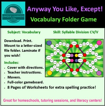 Any Way You Like, Except... Folder Game Vocabulary 2 Vowel Syllables
