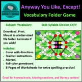 Any Way You Like, Except... Folder Game Vocabulary 2 Vowel