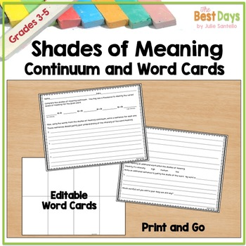 Shades of Meaning Continuum:  Any Word!