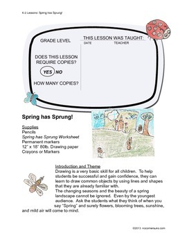 "Anyone Can Teach Art!  Complete K-2 Art Lesson ""Spring has Sprung"""