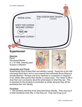 "Anyone Can Teach Art!  Complete K-2 Art Lesson ""Superheroes"""