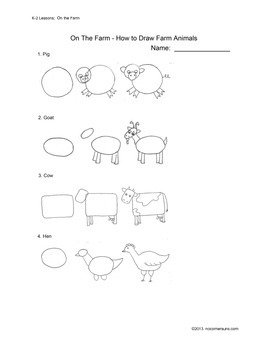 """Anyone Can Teach Art!  Complete K-2 Art Lesson/project """"On the Farm"""""""