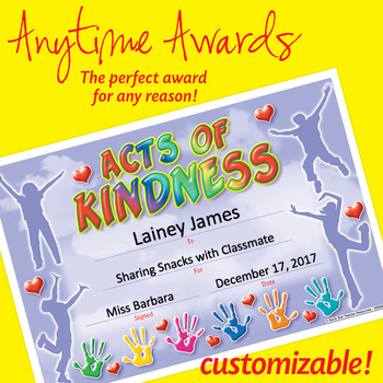 NSD6053 Acts Of Kindness Editable Anytime Award Certificates