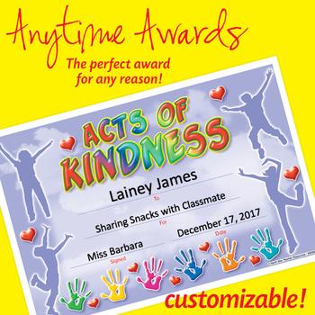 Editable Kindness Award Certificate Teaching Resources Teachers