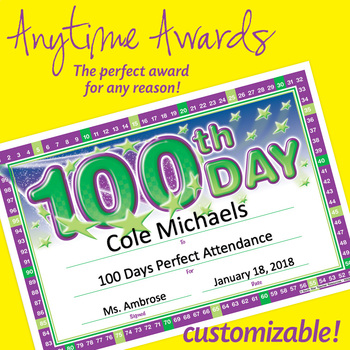 NSD6009 100th Day Editable Anytime Award Certificates