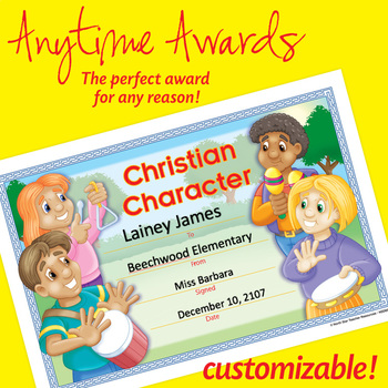 Christian Character Awards Worksheets Teaching Resources TpT