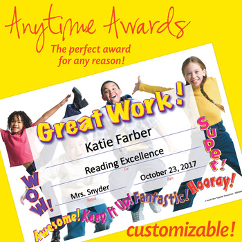 NSD6001 Great Work! Editable Anytime Award Certificates