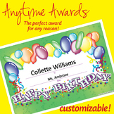 NSD6015 Happy Birthday Editable Anytime Award Certificates