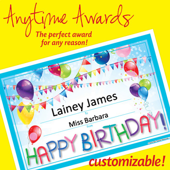 NSD6017 Happy Birthday! Editable Anytime Award Certificates