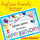 NSD6017 Happy Birthday! Editable Anytime Award Certificates