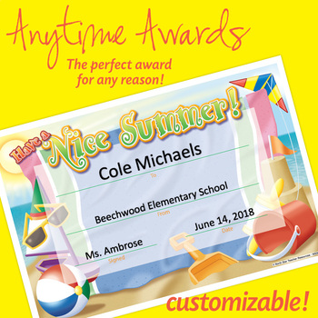 NSD6010 Have A Nice Summer! Editable Anytime Award Certificates