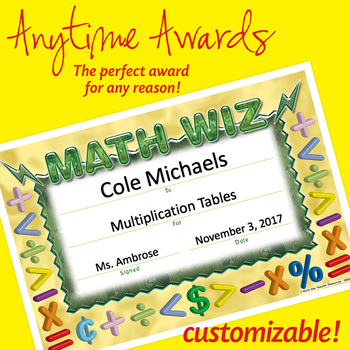 NSD6011 Math Wiz Editable Anytime Award Certificates