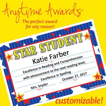 NSD6003 Star Student Editable Anytime Award Certificates