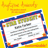 NSD6003 Star Student Editable Anytime Award Certificates