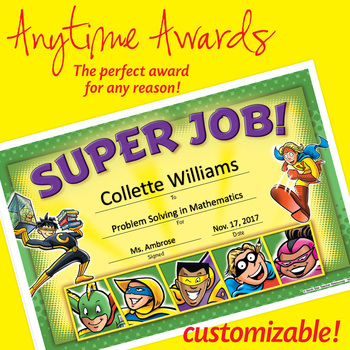 NSD6014 Super Job! Editable Anytime Award Certificates