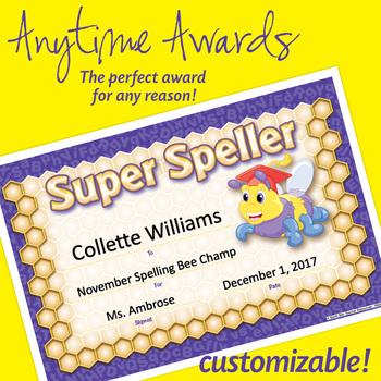 NSD6012 Super Speller Editable Anytime Award Certificates