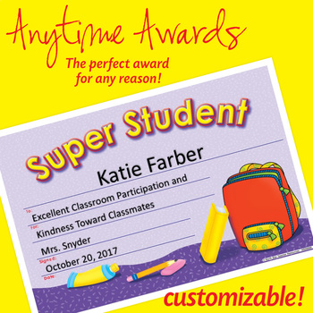 NSD6003 Super Student Editable Anytime Award Certificates