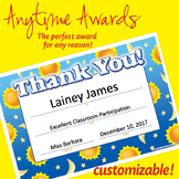 NSD6050 Thank You Editable Anytime Award Certificates