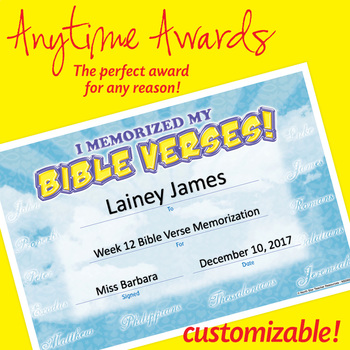 NSD6052 I Memorized My Bible Verses! Editable Anytime Award Certificates