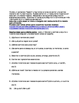 Anytime Homework- Food Blog Español
