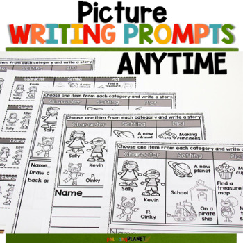 Picture Writing Prompts with Spelling Supports and Choice Anytime Pick a Prompt