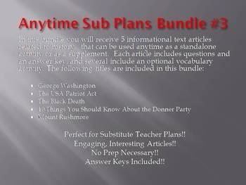 Anytime Sub Plans - Bundle #3 (no prep)