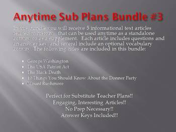 Anytime Sub Plans - Bundle #3: Save $6! (no prep)