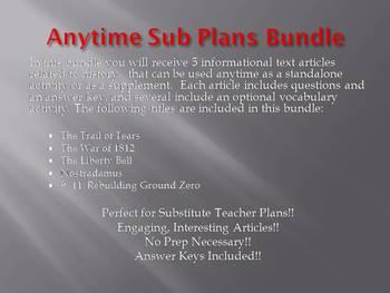 Anytime Sub Plans - Bundle #1: Save $6! (no prep)
