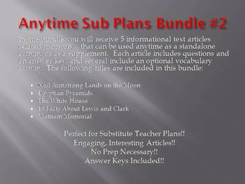 Anytime Sub Plans - Bundle #2: Save $6! (no prep)