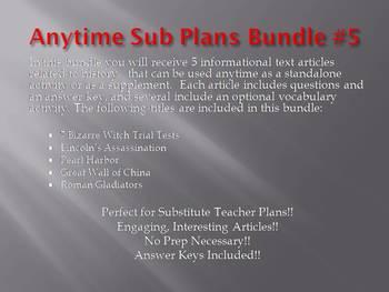 Anytime Sub Plans - Bundle #5: Save $6! (no prep)