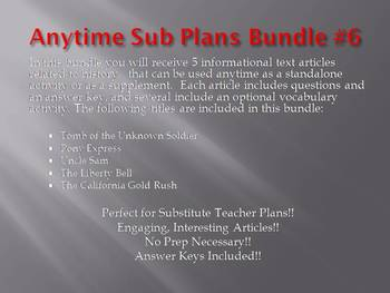 Anytime Sub Plans - Bundle #6: Save $6! (no prep)