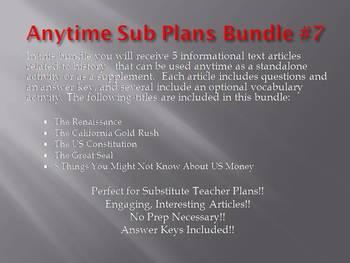 Anytime Sub Plans - Bundle #7: Save $6 (no prep)