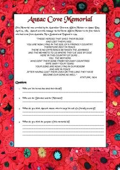 Anzac Cove Memorial Comprehension