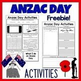 Anzac Day Activities Freebie
