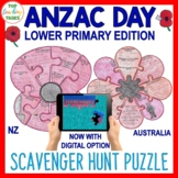 Anzac Day Activities Scavenger Hunt Puzzle Year 3 and 4 New Zealand Australia