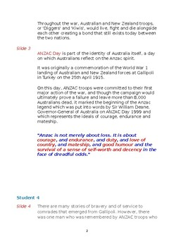 Anzac Day Assembly Presentation Support Document
