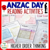 Anzac Day Reading Comprehension Passages and Questions Australia and New Zealand