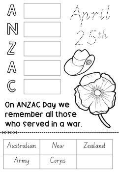 Anzac Day NO PREP Activities and Themed Writing Paper