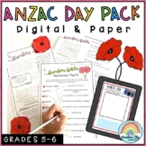 ANZAC Day Activities - Year 5 and Year 6 - Digital and Paper