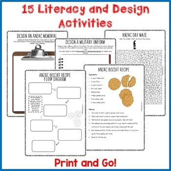 Anzac Day Print and Go Activity Pack 10 Engaging Literacy Resources