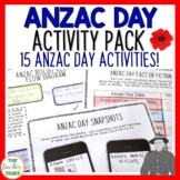 Anzac Day Print and Go Activity Pack 15 Engaging Literacy