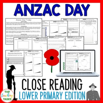 Anzac Day Reading Comprehension Activities Year 3 and 4