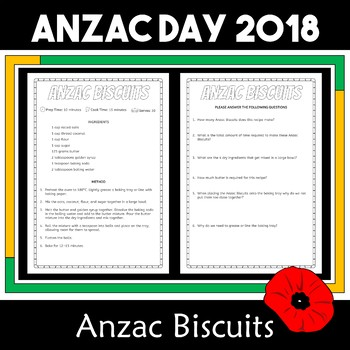 Anzac Day Biscuit Recipe, Reading Comprehension and Activities