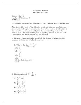 AP Calculus Midterm 2006