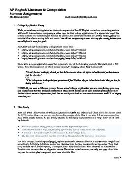 AP Literature & Composition Summer Assignment
