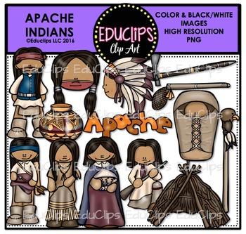 Apache Indians Clip Art Bundle {Educlips Clipart}