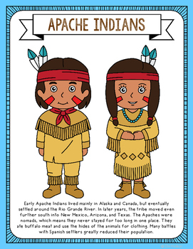 Apache Indians Coloring Page Craft and Poster, Indian Tribes, Native American