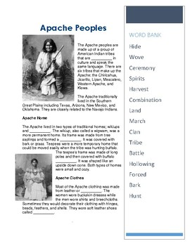 Apache Peoples - CLOZE Reading